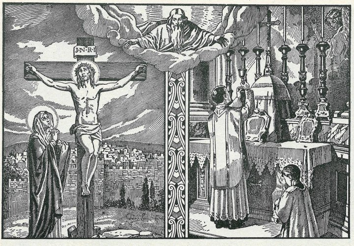 The Mass and Calvary_ink print